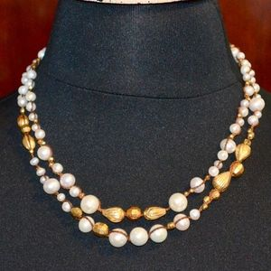 NWT CHAN LUU GOLD VERMEIL PEARL DOUBLE NECKLACE